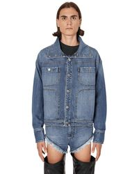 Telfar High Collar Denim Jacket - Blue