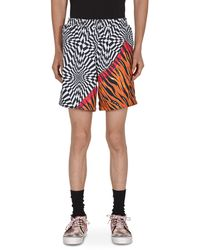 Vans Aries Distorted Cheque Shorts - Red
