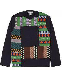 Comme des Garçons - Fully Fashioned Knit Jacquard Patchwork, Gauge 14 Navy - Lyst