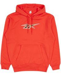 Reebok Classic Basketball Hoodie Vivid Orange Xs - Red