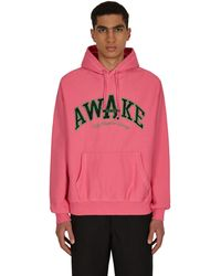 AWAKE NY People's Champ Plaid Logo Hooded Sweatshirt Pink S