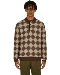 Needles Checkered Polo Sweater - Brown