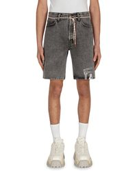 Aries Temple Acid Wash Denim Shorts - Gray