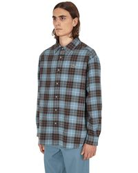 Lacoste L!ive Checked Flannel Lined Oversized Shirt - Blue