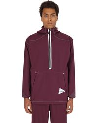 and wander 2.5 Layer Rain Long Pullover Purple M