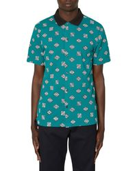 Lacoste L!ive Surf Culture Ribbed Collar Shortsleeve Shirt - Blue
