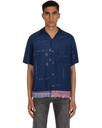 Kapital French Cloth Linen Bandana Remake Aloha Shirt Indigo M - Blue