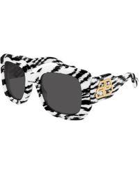 Balenciaga Bb0069s 006 Women's Sunglasses White Size 53 - Black
