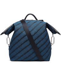 Smythson 's' Monogram Large Transformable Backpack - Blue