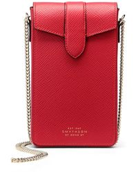 Smythson Panama Phone Case On Chain - Red