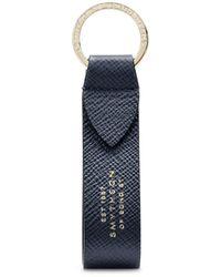Smythson Panama Keyring With Leather Strap - Blue
