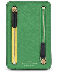 Smythson Panama Mini Zip Currency Case - Green
