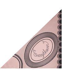 Smythson Swirl Logo Small Silk Triangle Scarf - Pink