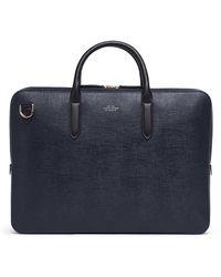 Smythson Panama Slim Lightweight Leather Briefcase - Blue