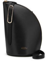 Smythson Quarter-moon Leather Shoulder Bag - Black