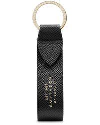 Smythson Panama Keyring With Leather Strap - Black