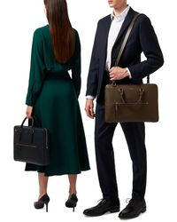 Smythson Ludlow Briefcase With Zip Front - Green