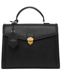 Smythson Panama Medium Coronet Top Handle Bag - Black