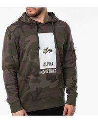 Alpha Industries Black Logo Hoody 126346 415 - Green