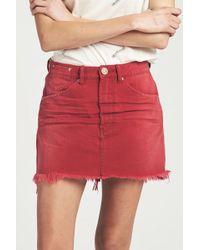 One Teaspoon Vanguard Mid Rise Skirt In Red Envy