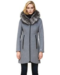 SOIA & KYO Charlena Slim-fit Wool Coat With Removable Silver Fur In Ash - Gray