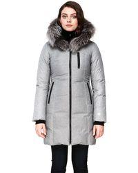 SOIA & KYO Christy Fox Fur Trim Down Coat - Gray
