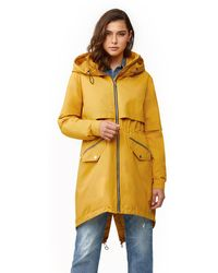 SOIA & KYO Desiree Zip - Up Hooded Raincoat - Yellow