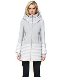 SOIA & KYO Avery Mixed Media Coat With Hood In Silverash - Grey