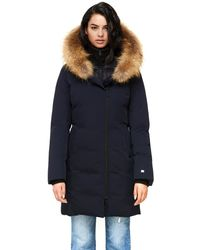 SOIA & KYO Salma Classic Down Coat With Removable Natural Fur In Indigo - Blue