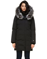 SOIA & KYO Salma Classic Down Coat With Removable Silver Fur In Black