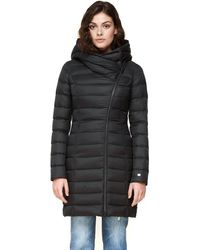 SOIA & KYO Karelle Lightweight Down Coat With Asymmetrical Closure In Black
