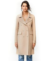 SOIA & KYO Rive Knee-length Double-face Wool Coat In Almond - Natural