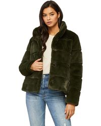SOIA & KYO Bea Low-hip-length Faux Fur Jacket With Stand Collar In Moss - Green