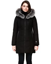 SOIA & KYO Christy Brushed Down Coat With Removable Silver Fur In Black