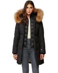 SOIA & KYO Christy Fur Trim Brushed Down Coat - Black