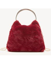 Sole Society Loray Clutch Faux Fur Clutch - Red