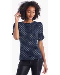 Vince Camuto - Ruched Sleeve Romantic Dots Top - Lyst