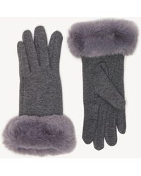 Sole Society Solid Faux Fur Trimmed Gloves - Gray