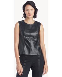 Vince Camuto - S/l Knit Pleather Shell - Lyst