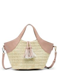 Sole Society Ebba Satchel Straw Satchel With Vegan Leather Trim - Multicolor