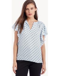 Vince Camuto - Flutter Sleeve Romantic Dots V-neck Blouse - Lyst