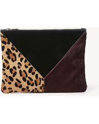 Sole Society - Shailey Genuine Haircalf Patchwork Clutch - Lyst