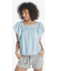 Vince Camuto - Square Neck Flutter Sleeve Shirt - Lyst