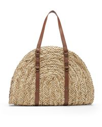 Sole Society Jemarie Satchel Faux Leather / Straw Satchel - Multicolor