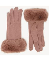 Sole Society Solid Faux Fur Trimmed Gloves - Multicolor