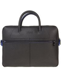 6c8f94d7ba91 Armani Jeans Black Monogrammed Faux Leather Briefcase in Black for ...