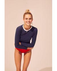 Solid & Striped Rib Long Sleeve T-shirt - Blue
