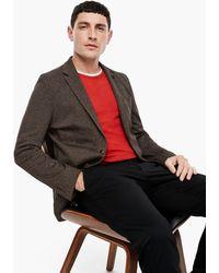 S.oliver Slim Fit: Meliertes Jersey-Sakko - Braun