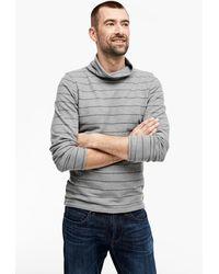 S.oliver Slim: Longsleeve mit Turtleneck - Grau