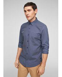 S.oliver Slim: Stretchhemd mit Allover-Muster - Blau